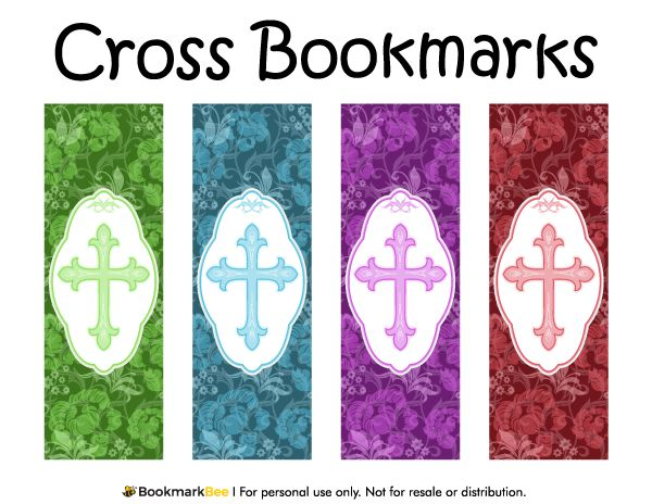 Free printable cross bookmarks with fancy crosses and for Religious bookmark templates