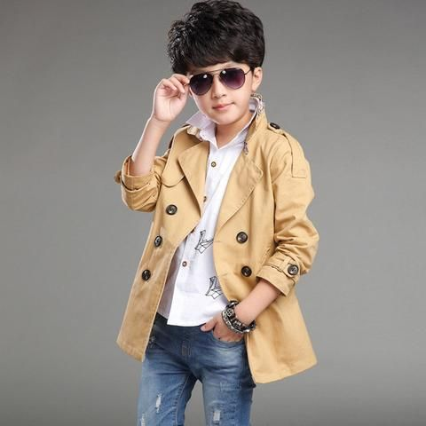 Boys Trench Coat with Long Sleeves and double breasted