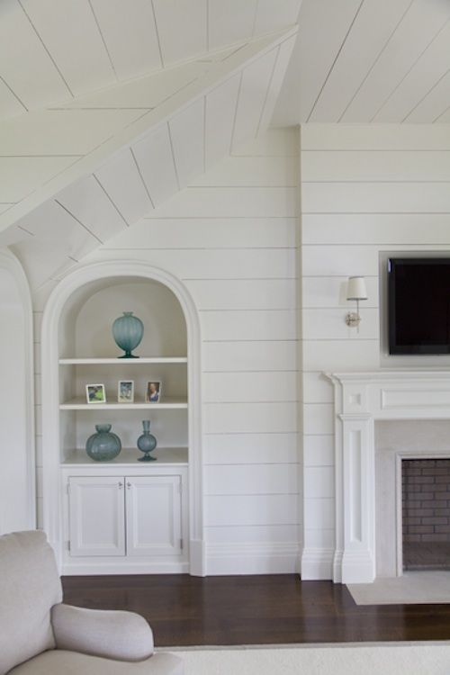 Cottage Arched Built In Shelves  Interior Inspiration  Built in shelves living room