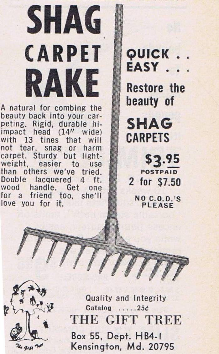 shag carpet rake ad circa 1960s70s - Shag Carpet