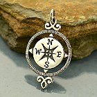 """This Compass Pendant would be a great component in Graduation Jewelry! They represent protection, luck, and guidance. Great for a graduate or someone taking on a new journey. The compass rose has appeared on charts and maps since the 1300's. The term """"rose"""" comes from the figure's compass points resembling the petals of its blossom. The device is used to indicate the directions of the winds. Add more to your collection with other globe trotter charms or pendants.Cast and hand finished in…"""
