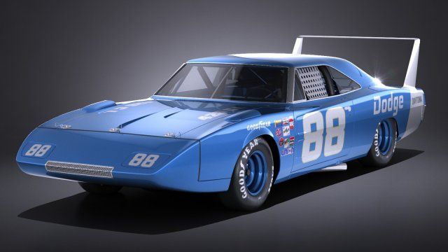 Dodge Charger Daytona 1969 NASCAR 3D Model .max .c4d .obj .3ds .fbx .lwo .stl…