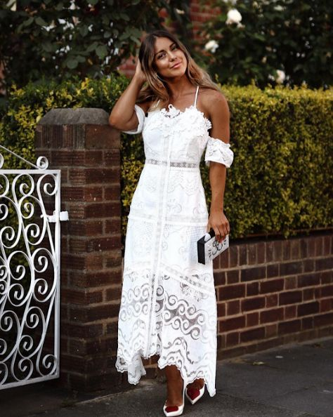 """MIC Star Louise Thompson looking stunning in the SilkFred """"Kiera Off Shoulder Dress"""" ..... Made In Chelsea, Celebrity, Lace, White"""