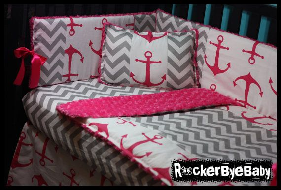 CUSTOM punk baby 4 piece MIXED PRINTS Candy Pink Chevron crib bedding set fabric skull and crossbones anchor girl boy unisex on Etsy, $325.00