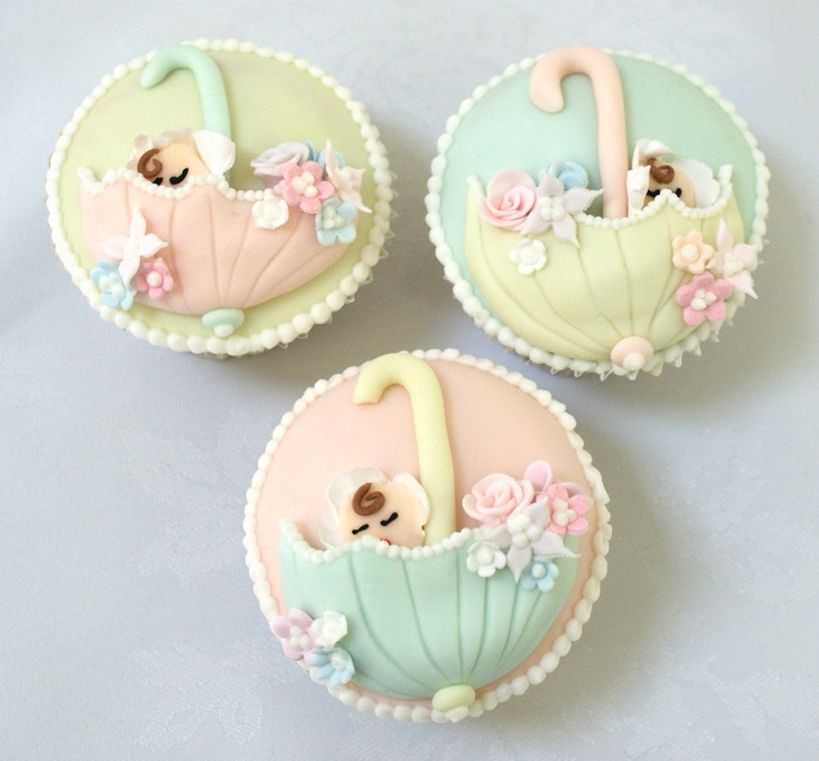 Baby shower cupcakesPretty Cupcakes, Cupcakes Ideas, Baby Shower Cupcakes, Umbrellas Cupcakes, Ice Bliss, Cupcakes Art, Baby Shower Cookies, Cupcakes Rosa-Choqu, Cake Exhibitions