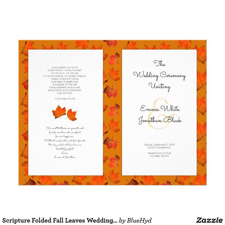 Scripture Folded Fall Leaves Wedding Program