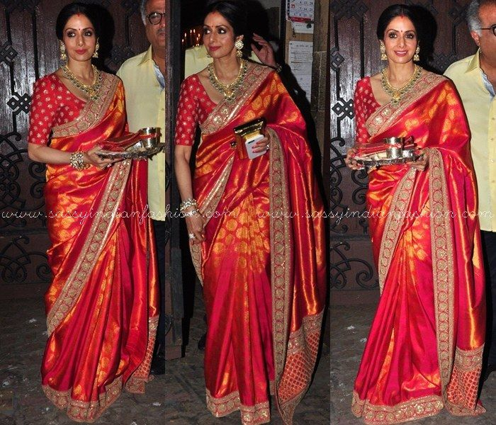 Celebrity Sridevi in Red Silk Saree for Karva Chauth