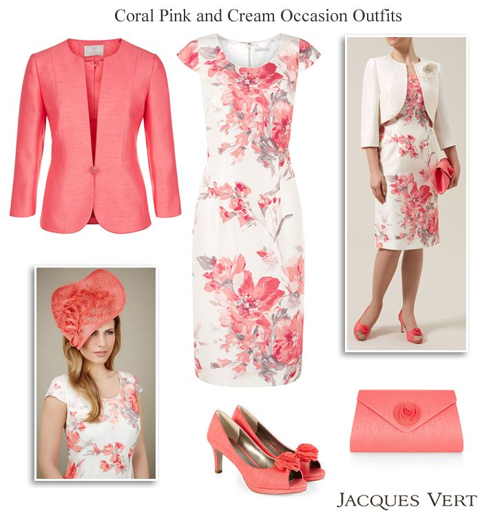 Coral pink and cream summer wedding outfit  for Mother of the Bride Mother of the Groom or Race Day. Floral shift dress corsage bolero jacket matching shoes bag and hat.