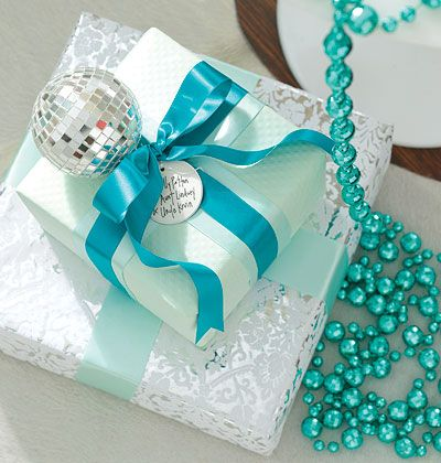 Christmas packages in turquoise...