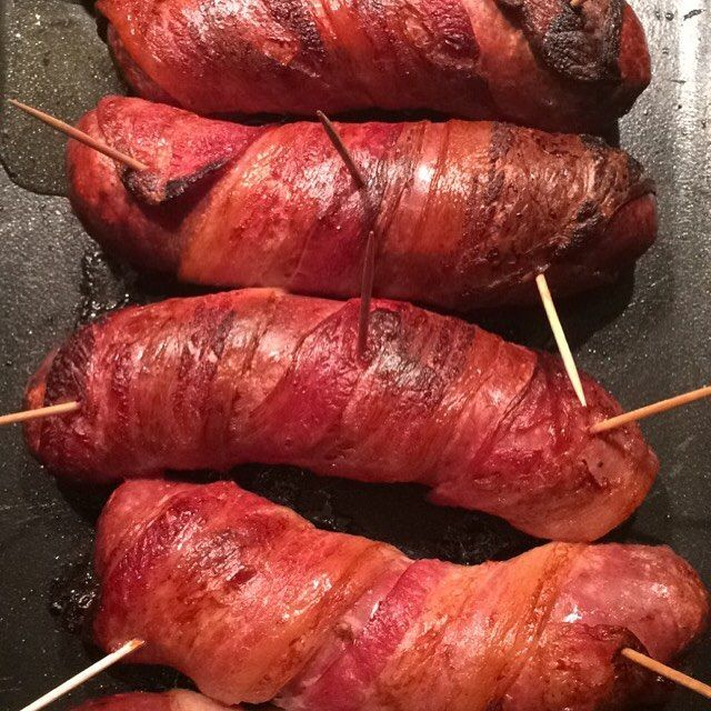 Pigs in blankets ~ bacon wrapped sausages!
