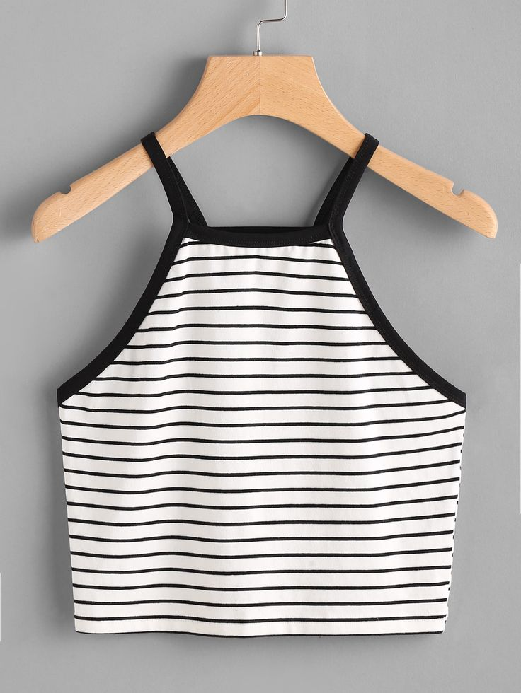 Shop Contrast Binding Crop Striped Cami Top online. SheIn offers Contrast Binding Crop Striped Cami Top & more to fit your fashionable needs.