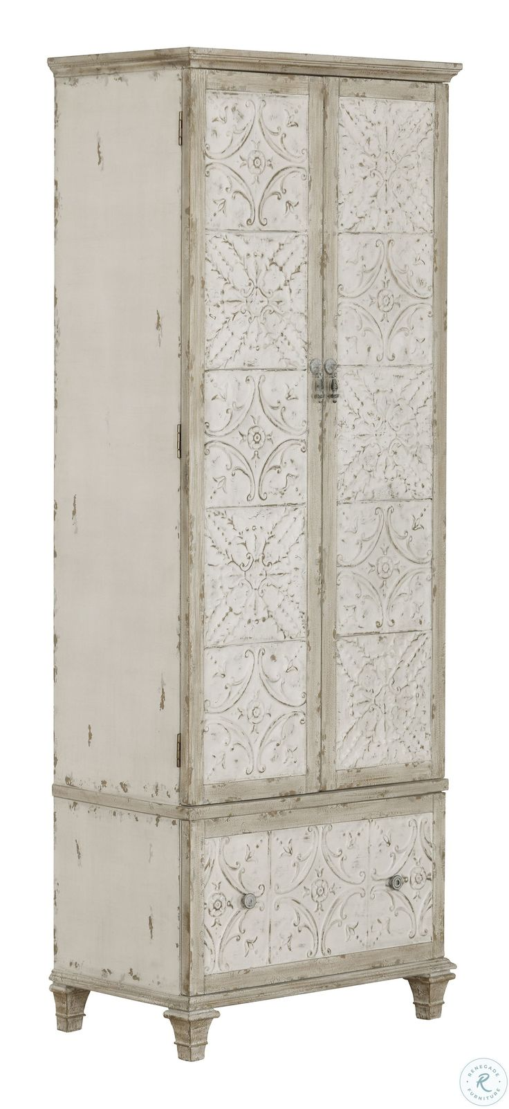 Distressed Cream Tall Pantry Cabinet in 2020 | Tall pantry ...
