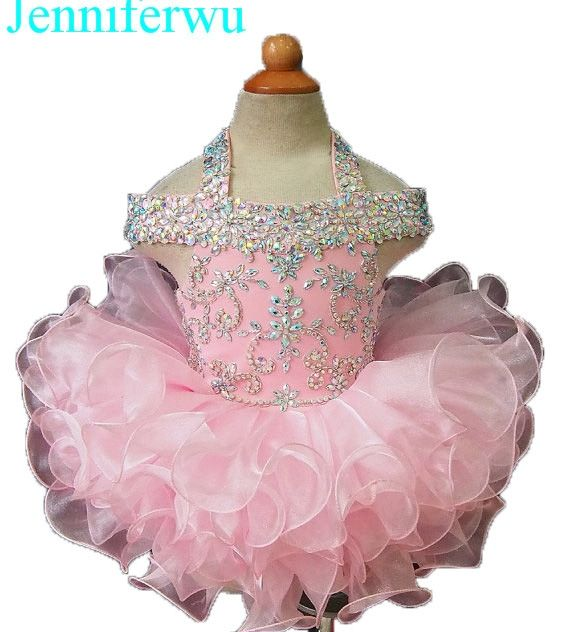 (125.00$)  Know more  -  15color available stone AB stone beaded baby girl clothes baby pageant dress  girl  party dresses flower girl dresse G081H