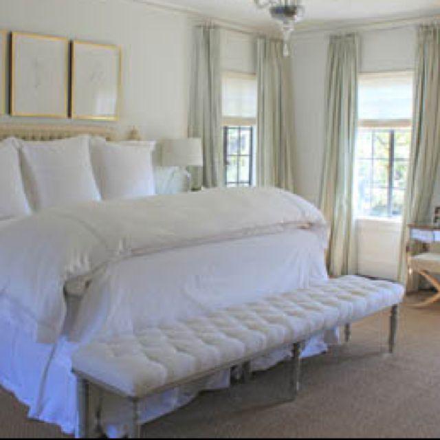 Master bedroom, bench, curtains, bedding, framed prints