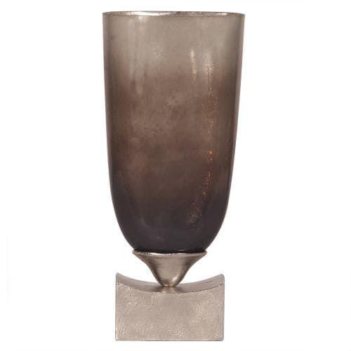 Howard Elliott Tall Pearlized Antique Glass Vase 22.5 Tall Glass Vase, Grey metal