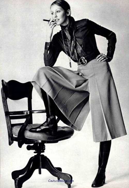 Model wearing Gaucho pants, 1970.
