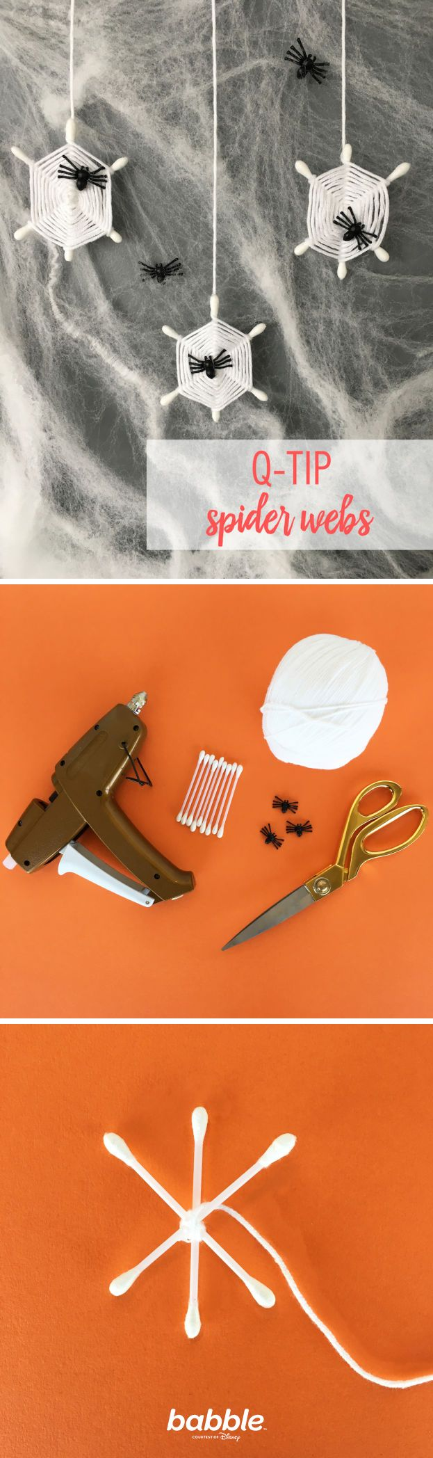 Make some simple, yet spooky Halloween decor this year with Q-tip Spider  Webs