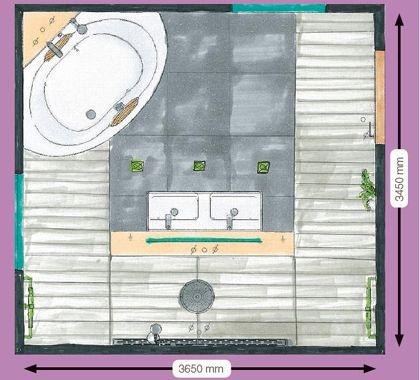 Deze klant stond een groot hoekbad en een zeer ruime inloopdouche voor ogen, waarin eventueel met twee personen tegelijk kon worden gedoucht. Het badmeubel staat tegen een vrijstaande wand, en in de wand zijn een inbouwspiegelkast en LED-verlichting aangebracht. Dezelfde verlichting wordt ook in het douchegedeelte toegepast.  Om nog meer sfeer te creëren, is ervoor gekozen tevens wandlampen te installeren. De vloertegels zijn vierkant, afgewisseld met stroken in een contrasterende kleur.