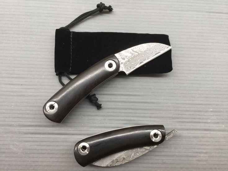 MARS MADAM X1614 Black Corrugated Steel Damascus Folding Knife Tactical Survival Knife Camping Hunting Knife Wood Handle