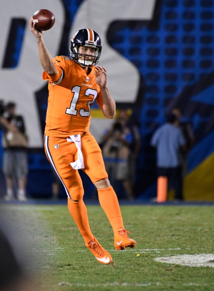 Broncos vs. Chargers:   October 13, 2016  -  21-13, Chargers   -      Denver Broncos quarterback Trevor Siemian (13) throws a pass down field during the third quarter October 13, 2016 at Qualcomm Stadium. The Broncos lose to the Chargers 21-13.