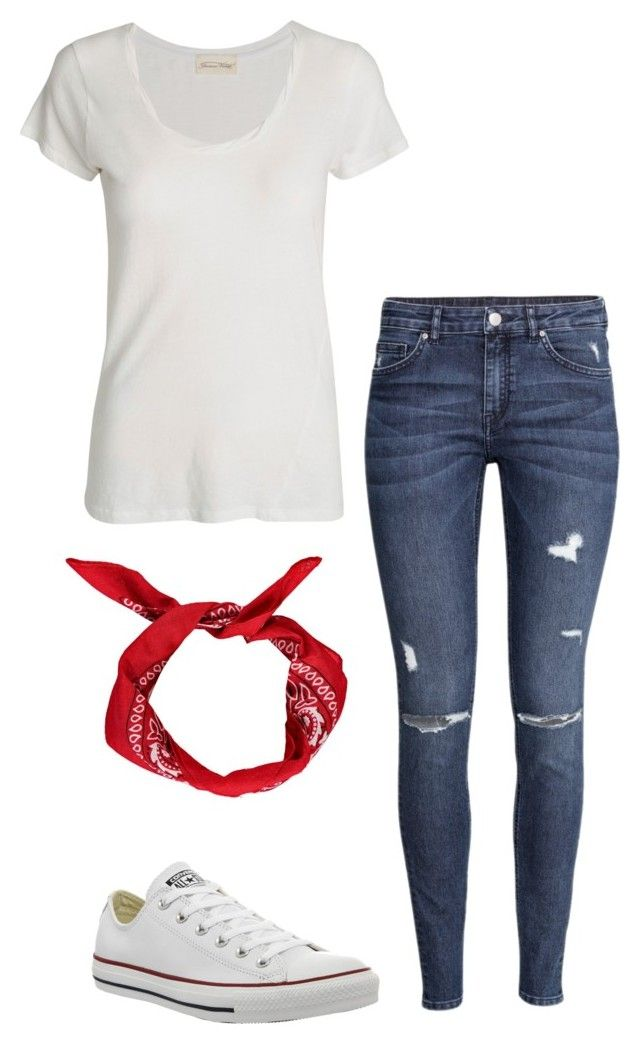 """Homecoming Week: Wednesday: America Day"" by purplecheesesticks ❤ liked on Polyvore featuring American Vintage, H&M and Converse"