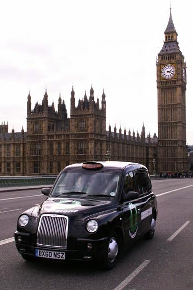 London Black Cab. (Tip: if the orange light above the driver is off, it has a passenger  wont stop.) inlondonguide
