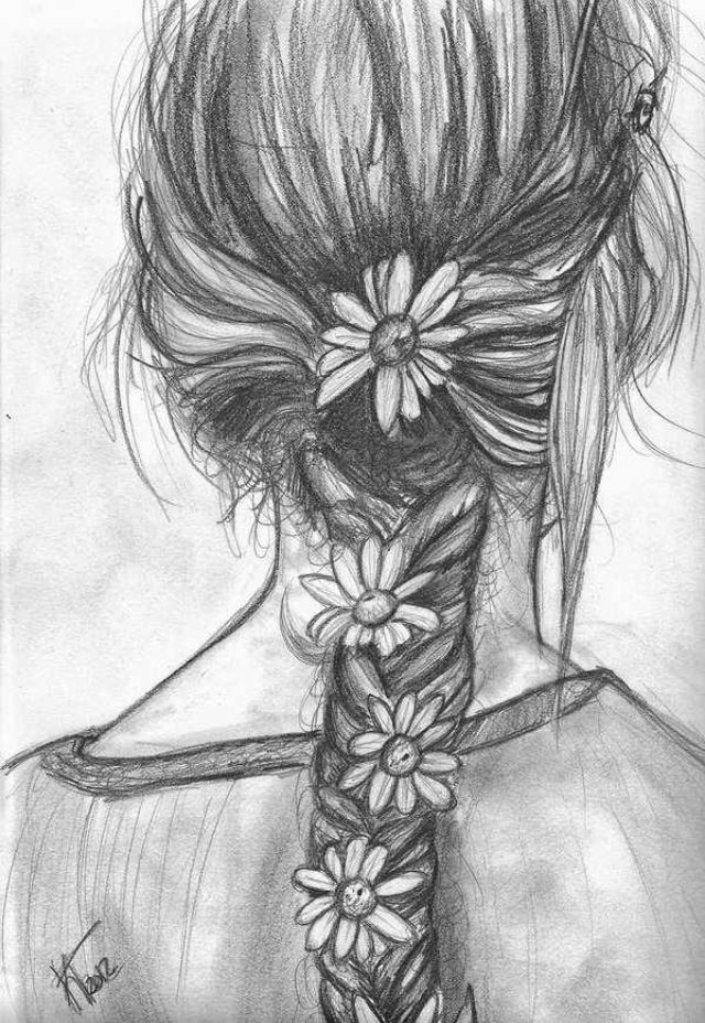 Pencil Drawing of a Girl with Flowers in her French Braid