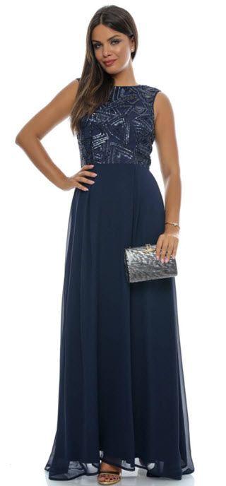 Rochii maxi bleumarin elegante cu paiete