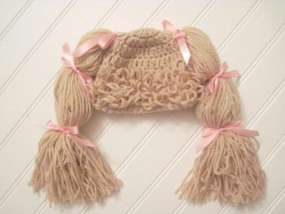 Newborn Hat Cabbage Patch Baby Hat Tan Blonde Bows Baby