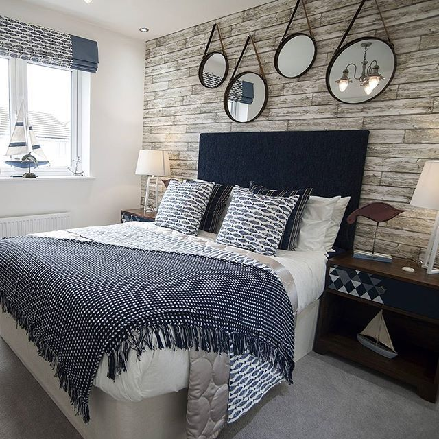 A sophisticated nautical theme ⛵️bedroom @taylorwimpey