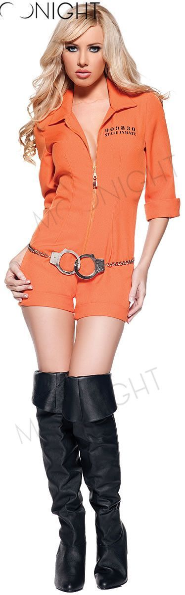 Orange Escaped Prisoner Inmate Prisoner Jumpsuit y Prison Jailbird Convict Halloween Costume Women y Adult Alternative Measures