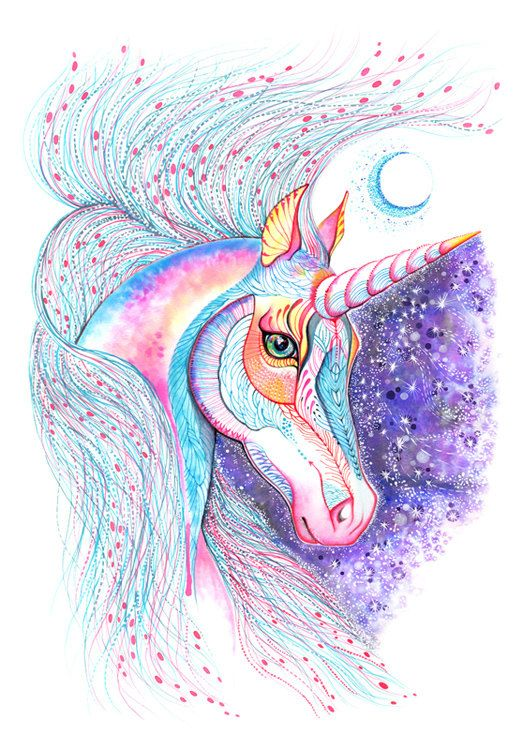Unicorn high quality art print Space Unicorn size A3 by TevaKiwi, $30.00