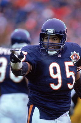 Richard Dent - Chicago Bears - DE. Met him on a plane, he commented on my glasses, I got his autograph on my bears boxers!