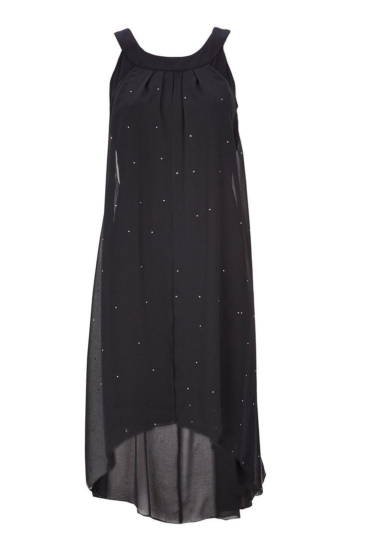 Black Diamonte High Low Dress - Clothing - Wallis £48