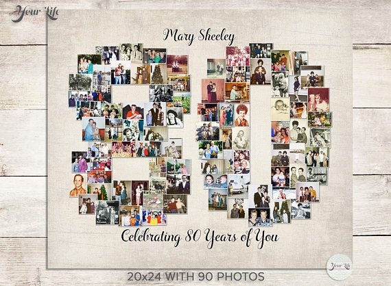 80th Birthday Gift, 80th Wedding Anniversary Gift, 80th Birthday Decoration, Anniversary Gift for Wife, 80th Gift for women, Photo Collage