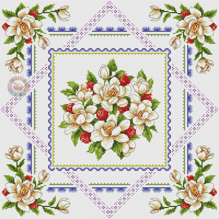 Cross stitch - flowers: Magnolia and fruit (free pattern with chart)