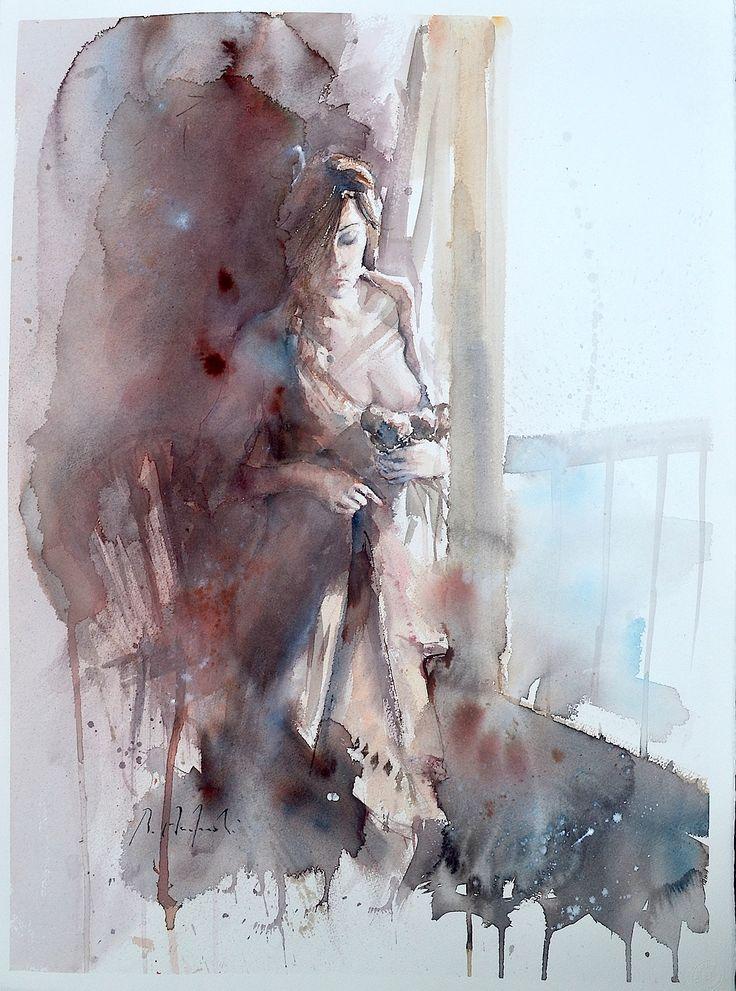 Roberto Andreoli PICCOLI GESTI QUOTIDIANI Acquerello cm. 56x76