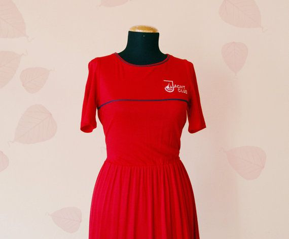 80s Red shirtdress / Vintage sailor mini dress / Nautical short sleeve dress / Red and Navy Blue / size S on Etsy, $57.83