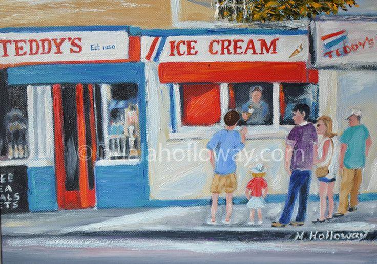 """""""Teddy's"""" by Nuala Holloway - Oil on Canvas #IceCream #DunLaoghaire #IrishArt"""