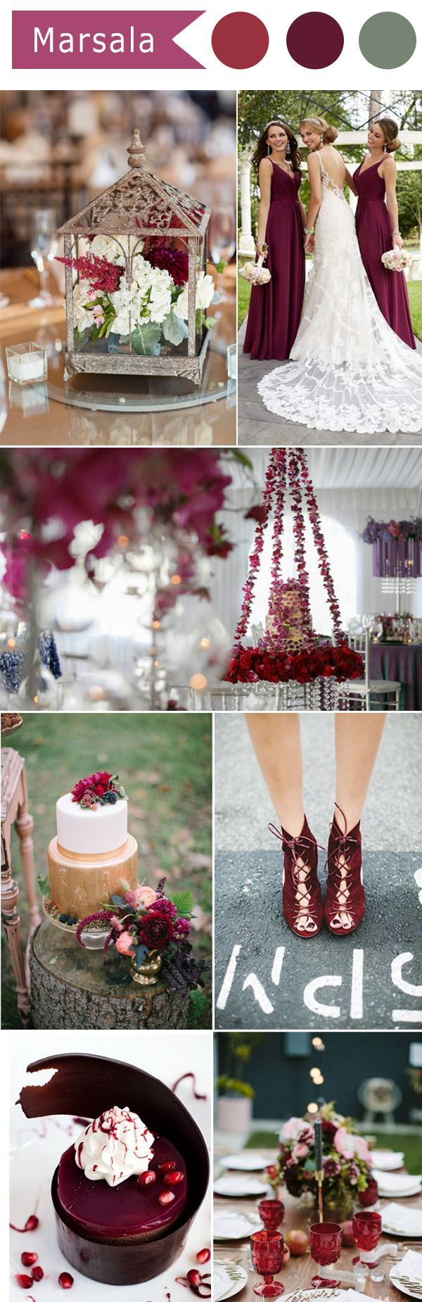 The beautiful shade of Marsala makes for a lovely wedding color palette