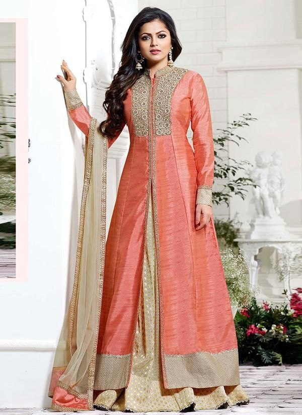 Drashti Dhami Pink Lehenga Kameez in Art Silk