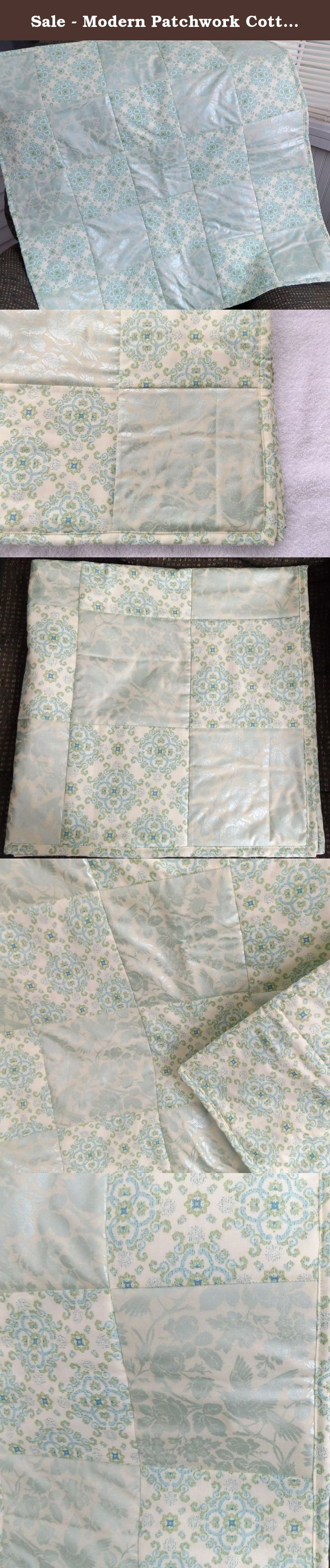 Gonatt crib for sale - Sale Modern Patchwork Cotton Crib Quilt Teal And Ice Blue Designer Baby Quilt