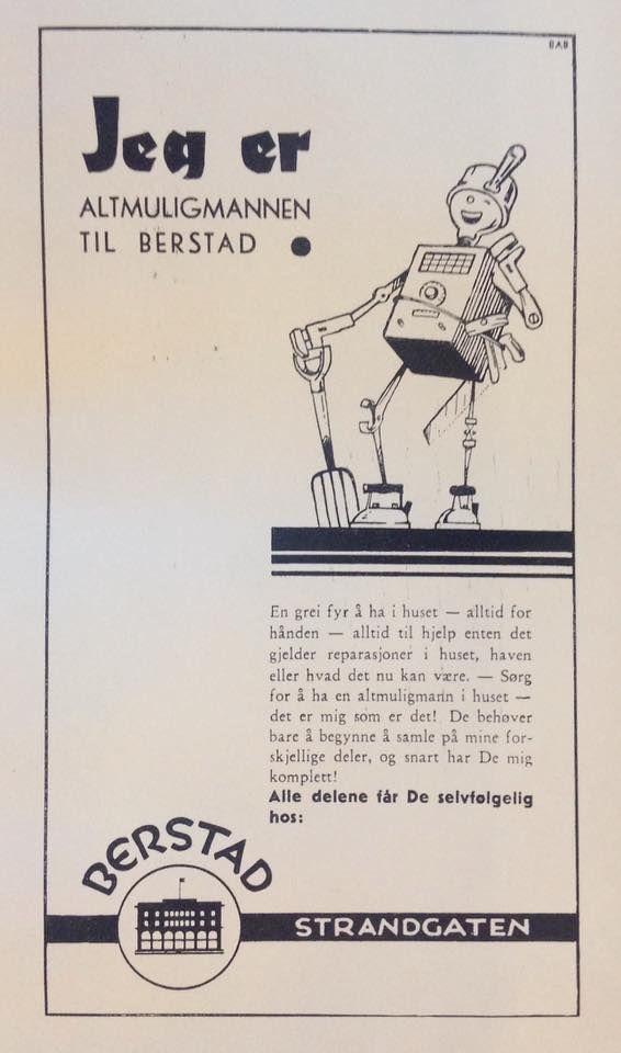 Utklipp: Inga-Alice Næss Blaha. En to-spalter annonse for J. Berstad. Utført av Bergens Annonse-Byrå A.S (BAB) tegner: C.j. Skauge.