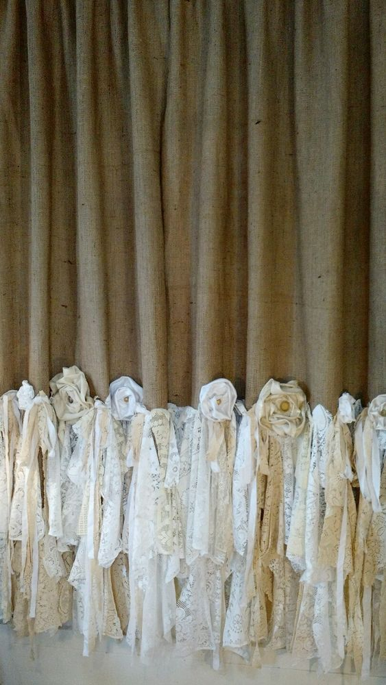 "Made to Order Burlap Vintage Lace Curtains 2 Panels Boho 54"" x 85"" tmyers"