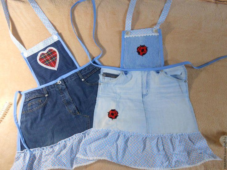 Купить Фартуки джинсовые - синий, фартук, передник, кухня, подарок, джинсы, джинса, хлопок, деним