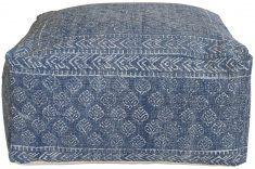 Block & Chisel square blue print cotton upholstered pouf