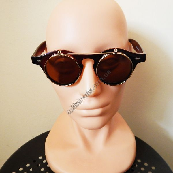 Ретро двойные очки, круглые линзы и металлическая рамка. Коричневые с золотой рамкой #sunglasses #fashion #style