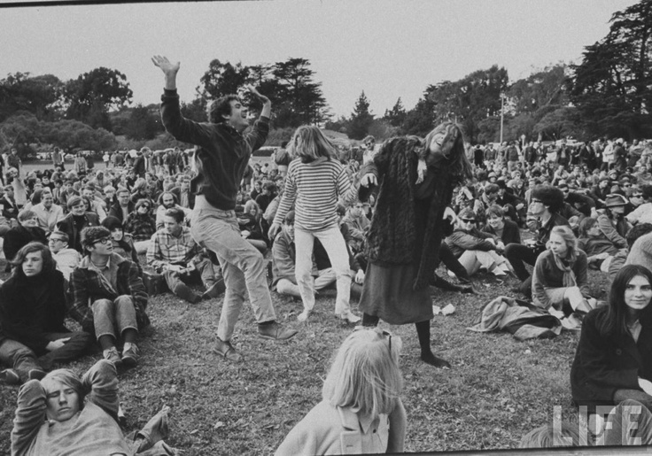 hippies dancing to folk music at an anti-war demonstration in Golden Gate Park, San Francisco (1967)