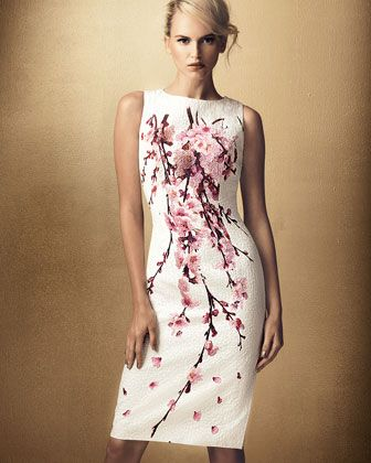 Cherry Blossom Jacquard Dress, Carolina Herrera