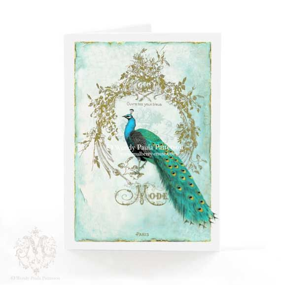 Peacock card, French vintage style, Ouvre tes yeux bleus, open your blue eyes, Peacock feathers, aqua blu, green, gold